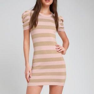 Rylie Blush Pink Striped Bodycon Sweater Dress
